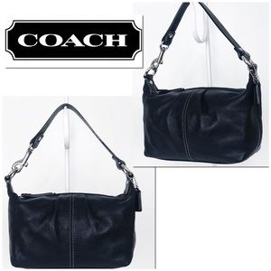 Coach Legacy West Black Leather Baguette Hobo Bag